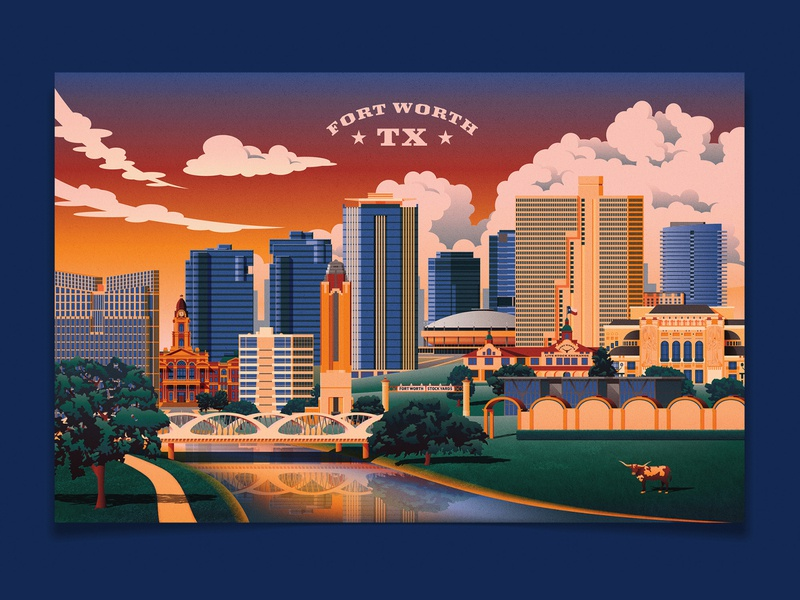Fort Worth Travel Poster - Sunset architecture landscape trees river landmarks longhorn poster travel clouds dfw texas fort worth downtown sunset design buildings photoshop vector illustrator illustration