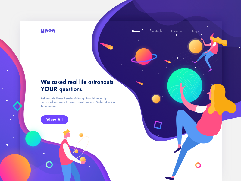 NASA Web Design 🌍🚀 website ufo space blue card ui illustration graphic colors web