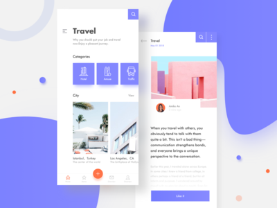 Travel App UI📱 pink purple shop card mobile app news online iphone travel