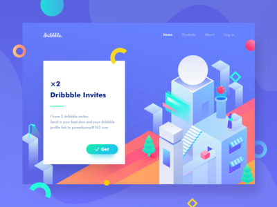 Dribbble Invites city dribbble illustraion giveaway isometric web ui invites