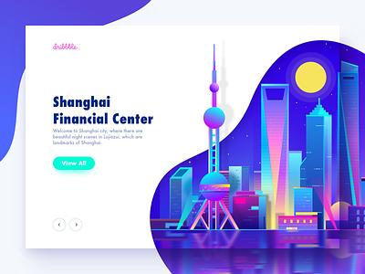 Shanghai City cyberpunk minimalism virtual night illustration city shanghai neon light web ux ui