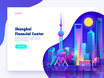 Shanghai City cyberpunk minimalism virtual night illustration city shanghai neon light web ux ui