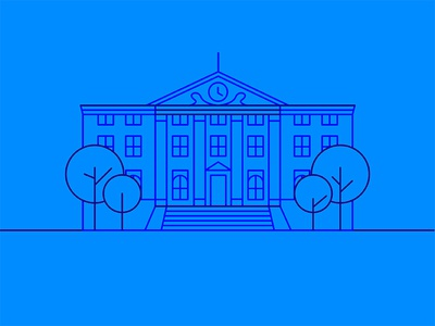City Hall back to the future blue 80s movie vector illustration icon building