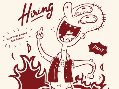 Hiring Poster eyes guy crazy fire character illustration