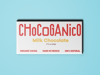 Chocoganico Bar minimal white packaging organic chocolate mexico typography lettering logo logotype