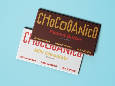 Chocoganico Bars minimal white packaging organic chocolate mexico typography lettering logo logotype