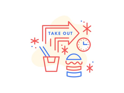 Take Out take out burger vector blue red illustration icon