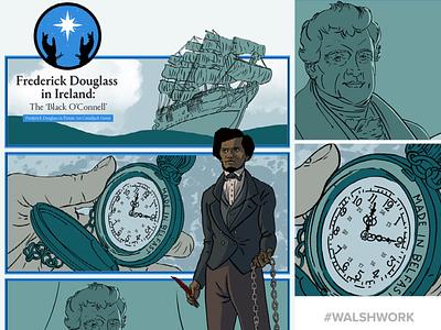 Frederick Douglass in Ireland black history month african american design irish history illustration