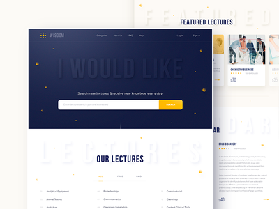 Wisdom lectures card clean layout page ui ux web website lectures courses volumetric shadow