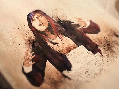 Oracymusic 004 woman singer hip-hop rap oracy music cover rough bic watercolor sketch