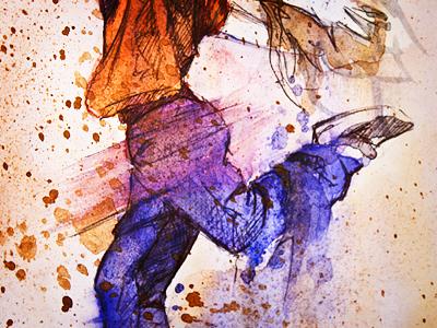 Illustration Watercolor 001 watercolor sketch study test color graphic pen ink dance dancing