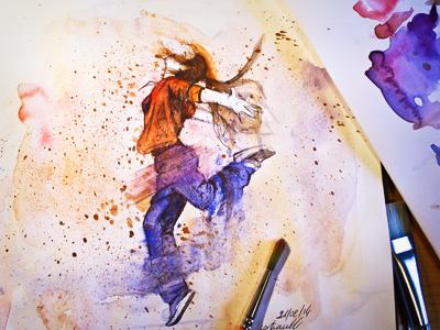 Full Watercolor 001 sketch watercolor color dancing dance study test pen graphic ink full palette