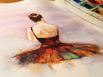 Illustration Watercolor 001 sketch watercolor color dancing dance study test pen graphic ink full palette