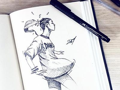 Sketch street draw woman graphic ink dance sketch