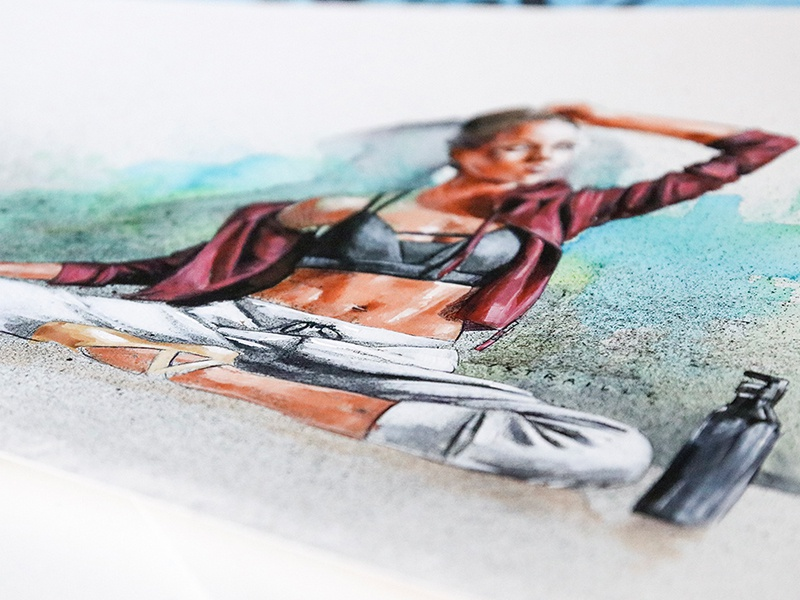 Urban Ballerina street-art urban fitness woman mixed media dancing watercolor painting