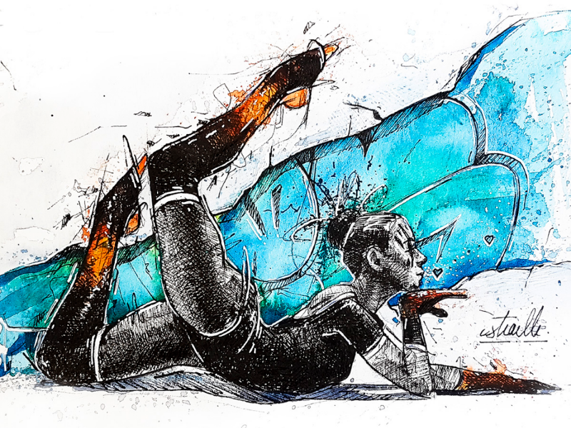 Ballerina characters graphic blue orange kiss love ballerina graffiti black lettering watercolor dance