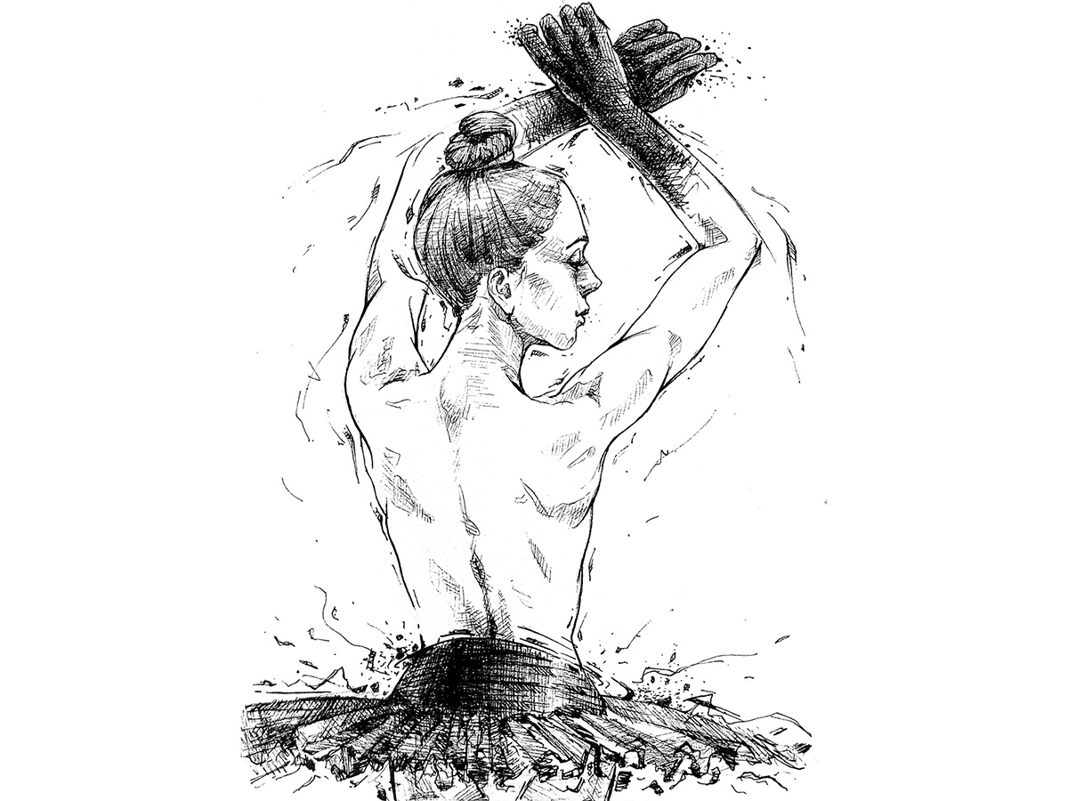 Ballerina back graphics woman pen black ink drawing
