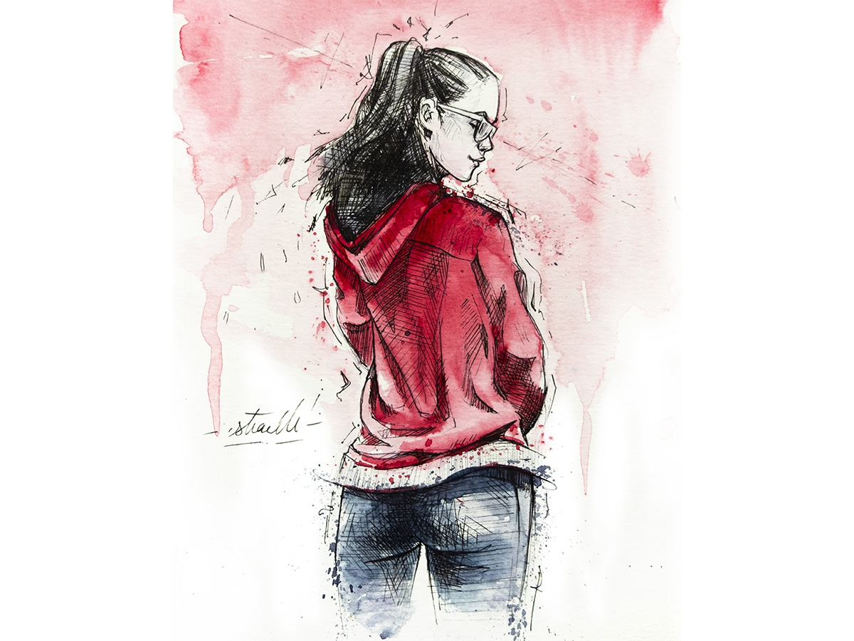 Pink wear back woman dancer splash watercolor pink drawing sketchbook fitness