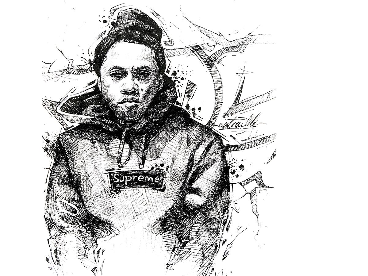 Nasty Nas face portrait sketch drawing sketchbook pencil ink culture street rap hiphop