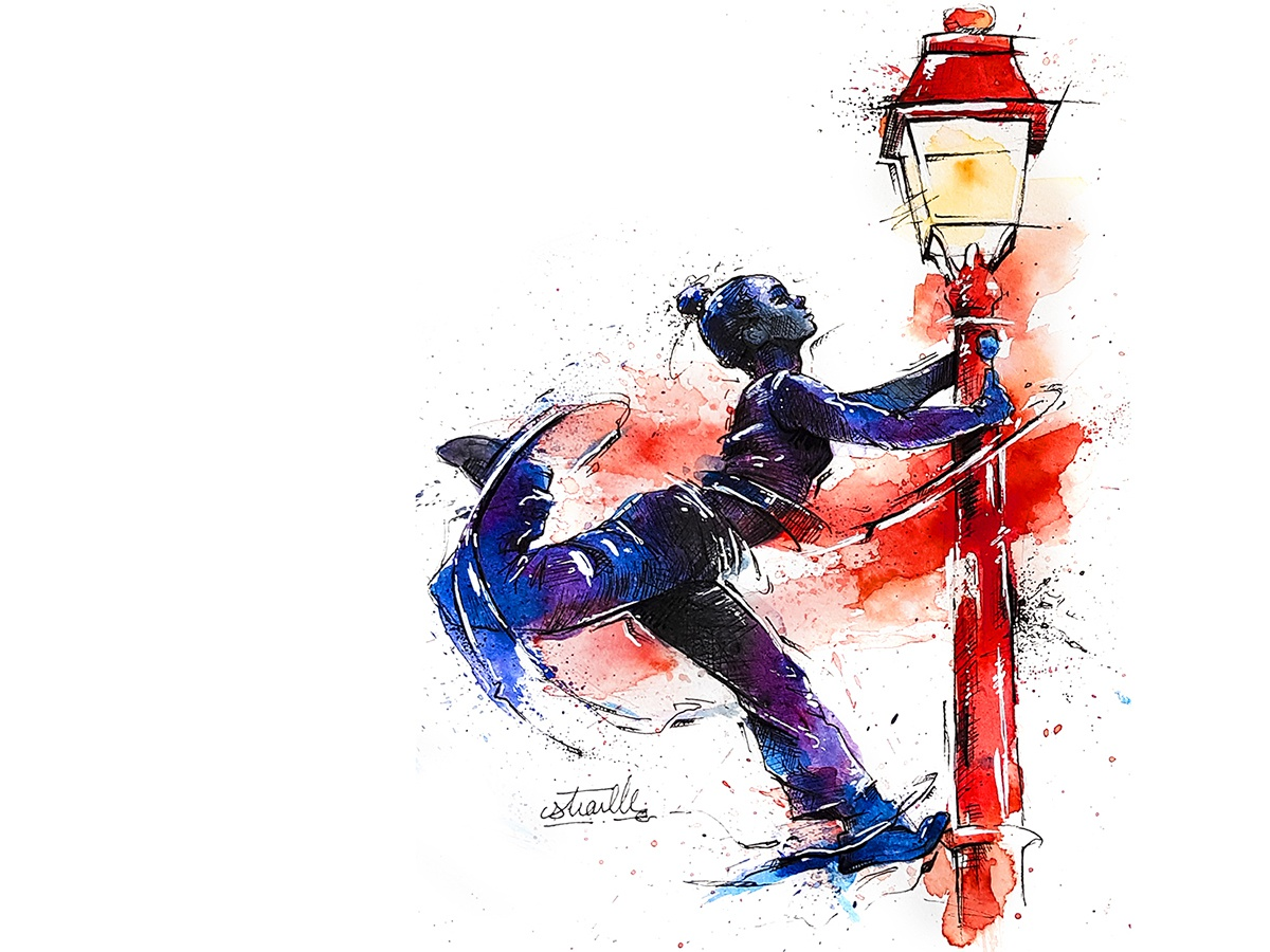 Acrobatic dance illustrations lines watercolor posca graphics acrobatic red dance