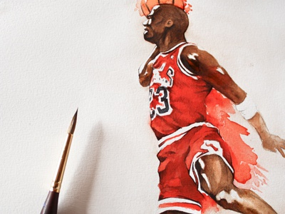 Jordan dunk - WIP 02 watercolor sketch jordan dunk color splash basket drawing painting paint
