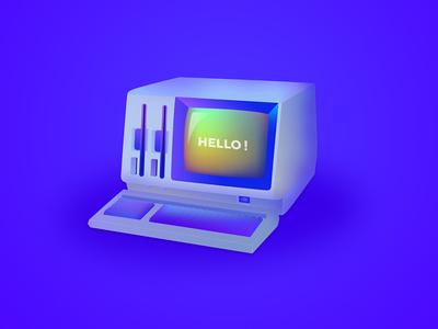 Oldie vector technology hello illustration retro computer