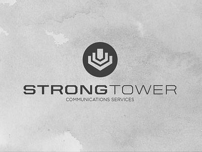 Strong Tower Comm Logo united gotham grey icon typography geometric branding identity communications tower