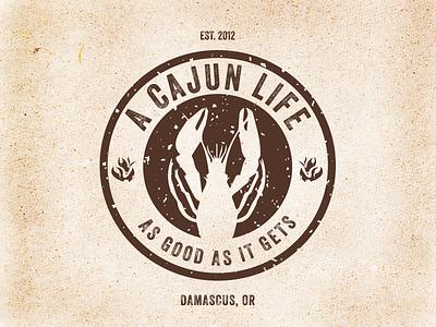 A Cajun Life Food Cart Logo logo branding identity portland oregon brown typography veneer crawfish cajun food cart round texture