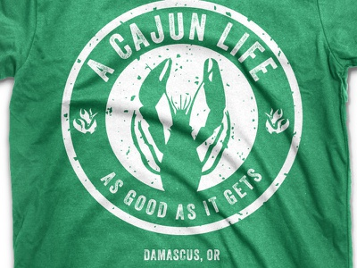 A Cajun Life Shirt logo branding identity portland oregon white typography veneer crawfish cajun food cart round texture tshirt green