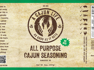A Cajun Life Packaging  packaging branding portland oregon food cart seasoning cajun crawfish logo texture green