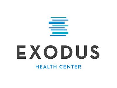 Exodus Health Center chiropractor medical abstract logo identity branding blue grey din font brandon grotesque