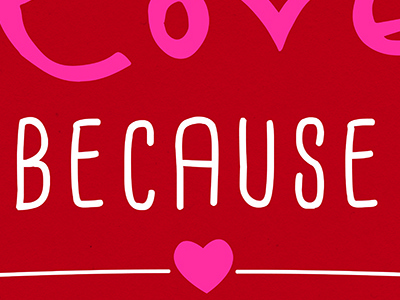 February Scripture Art typography handwritten love red scripture bible pink heart banner ribbon