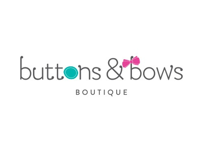Buttons & Bows Boutique  brandon text simple teal pink logo typography branding