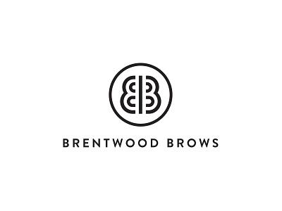 Brentwood Brows Logo Stacked brandon grotesque illustration typography black logo branding