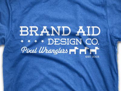 Brand Aid Design Co. T-Shirt Design 2 modern typography t-shirt blue white merchandise