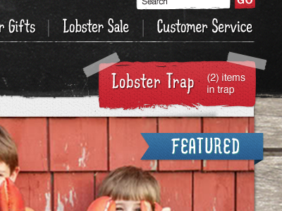 lobsteranywhere.com nav and cart chalkboard hand drawn font red blue texture typography website paper gallery slider navigation shopping cart