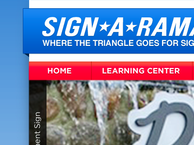 Sign-A-Rama Durham Homepage web header gradient typography gallery slider banner blue red navigation brand aid