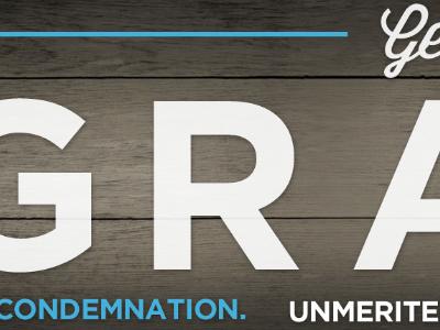 Grace Billboard wood texture blue white typography print script sans-seirf church