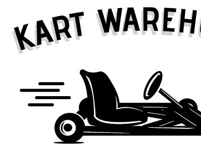 Kart Warehouse Logo-v1 illustration branding logo print black white retro typography go-kart racing identity
