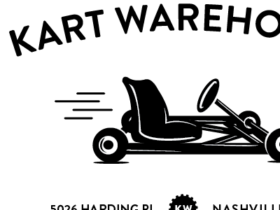 Kart Warehouse Logo v3 brandon grotesque logo print branding identity typography sans-seirf black white retro go-kart racing