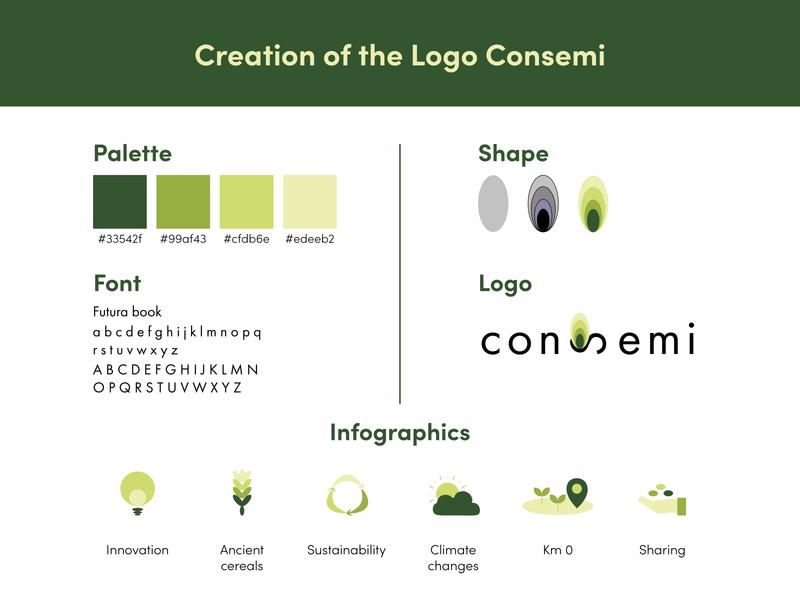 Logo Consemi color palette infographics biodiversity green logo graphic brand identity