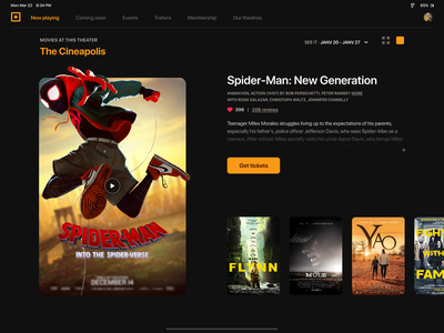 Cinema invision studio theater movies cinema animation ui interaction design