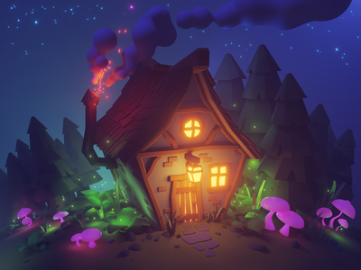 Hut in the woods fireflies stars witch house cabin wood forest night magic building house hut art render illustration graphic artwork 3drendering 3d modeling 3d art 3d