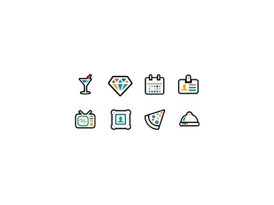 Colored Icons icon diamonds drink calendar tv stamp badge man user pizza icons food