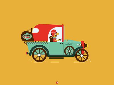 Mini Wagon font logodesign lettering fontstyle characterdesign character vector retro vintage illustration car wagon