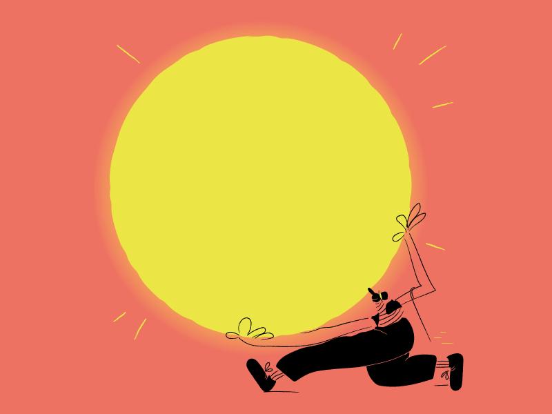 welcome summer! art picture draw vector cartoon comics character sun summer