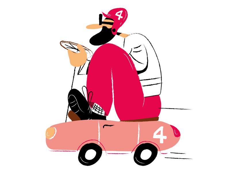 The number 4 draw illustration character cartoon comics art crazypilot pilot vintage car