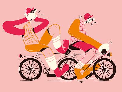 Tandem visual art vectorart crazy palette cartoon comics character friends illustration bike tandem