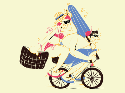 Andiamo a colorarci un po' characterdesign character vector animation bike sea couple summer i love you comics illustration vector art vector