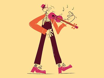 Aria sulla 4° corda character violin music art vector picture design vintage cartoon comics illustration